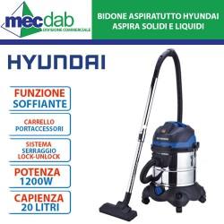 Bidone Aspiratutto Aspira Solidi e Liquidi 1200W 20L  in Acciaio Inox  Hyundai 45020