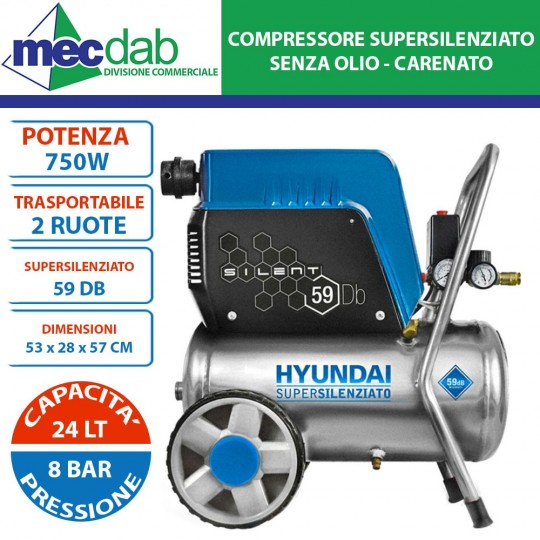 Compressore Supersilenziato Carenato 750W 1HP 24 LT 8 BAR Hyundai 65710