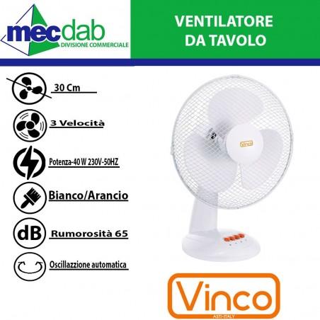 Ventilatore da Tavolo 40 W Diametro 30 Cm   Vinco YF30D