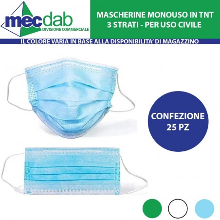 Mascherine Monouso in TNT Per Uso Civile Kit 25 Pz