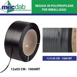 Reggia Polipropilene Nera Per Imballaggi 1 Km 12 x 05 Cm