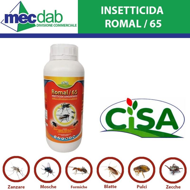 Insetticida concentrato Cipermetrina Tetrametrina Piperonil Butossido 1L Romal 65