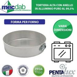 Tortiera Alta Con Anelli in Alluminio Puro 99,5% Forma da Forno Pentalux Varie Dimensioni