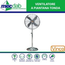 Ventilatore a Piantana Tonda 50 W  Regolabile in Altezza Max 130 Cm   Diametro 40 Cm  Vinco 70701