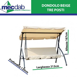 Dondolo 3 Posti Elegante Reclinabile in Acciaio di Colore Beige H167 Cm L212 Cm P120 Cm