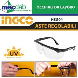 Occhiali di Protezione e da Lavoro Trasparenti Aste Regolabili INGCO HSG04