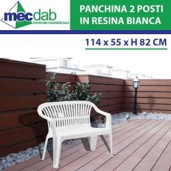 Panchina Da Esterno Giardino in Resina Bianco Impilabile Pro Garden
