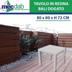 Tavolo Bianco Da Giardino In Resina Plastica Quadrato Per Esterno 80 x 80 x H72 Cm