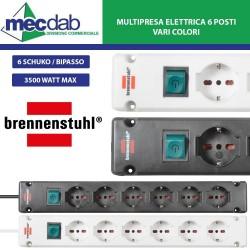 Ciabatta Multipresa Elettrica 6 Posti 3 Metri 6 Schuko / Bipasso 3500W