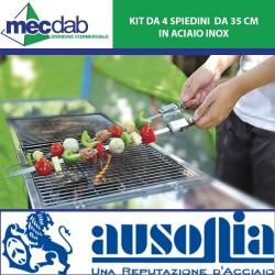 Kit da 4 Spiedini da 35 Cm in Acciaio Inox per Barbecue Ausonia