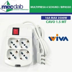 Ciabatta Multipresa Elettrica 4 Posti 1,5 Metri 4 Schuko / Bipasso 16A Max 3500W