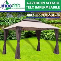 Gazebo In Acciaio Decorato e Telo Impermeabile Con Airvent 300 x 400 x H270 Cm