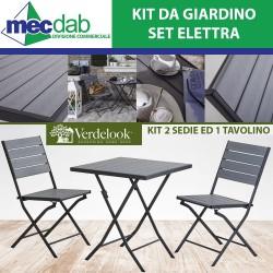 Set da Giardino Tavolo e 2 Sedie Ripiegabile in Metallo Elettra Verdelook
