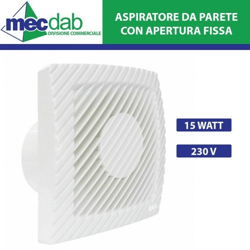 Aspiratore da Parete con Apertura Fissa 15W 230V - Dimensioni 163x163 mm