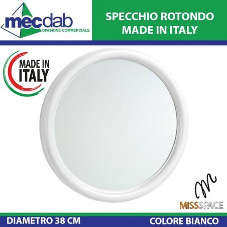 Specchio Rotondo Ø 38cm Bianco Made in Italy MissSpace-7809