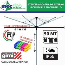 Stendibiancheria da Giardino ad Ombrello in Alluminio 50 MT Telo Incluso Gimi