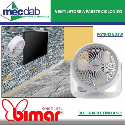 Ventilatore a Parete Ciclonico 25W Ø 15 Cm Reclinabile fino a 90° Bianco 2 Velocità  Bimar