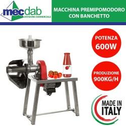 Macchina Spremipomodoro Con Banchetto in Acciaio Inox 600W 1HP