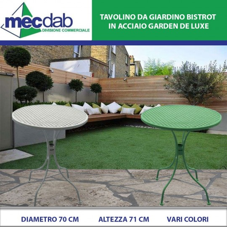 Tavolo da Giardino in Acciaio Ø 70 x H71 Cm Bistrot Vari Colori Garden De Luxe