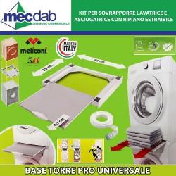Kit di sovrapposizione per lavatrice ed asciugatrice 60 x 60 Cm Made in Italy Meliconi