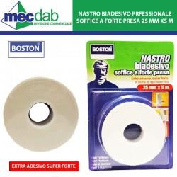 Nastro Biadesivo Professionale Soffice a Forte Presa 25 mm x 5 m Boston