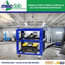 Carrello Porta Utensili da Lavoro blu in metallo 82x45xh.85 cm
