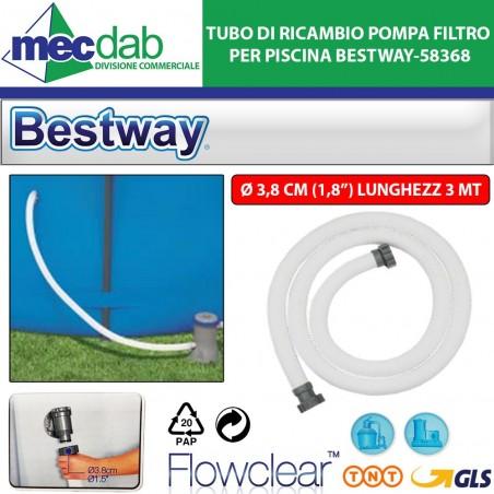 Tubo di Ricambio Pompa Filtro per Piscina L3mt diam.38mm Bestway-58368