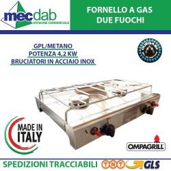 Fornello a GAS Acciaio Inox con Due Bruciatori 4,2 KW Duelgas+ Ompagrill
