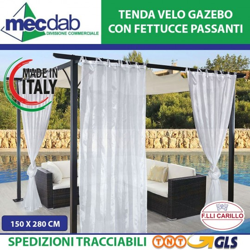 Tenda Velo Per Gazebo 100% Poliestere Made in Italy 150 x H.280 Cm
