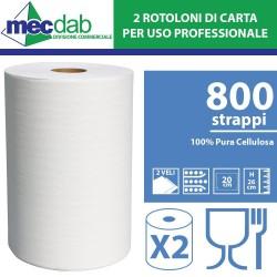 Rotolone Carta 800 Strappi 2 Rotoli Strappo 20 Cm Carta in Pura Cellulosa