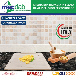 Spianatoia da Pasta Tavola in Legno di Massello Dolce con Bordo - 60 x 40 Cm