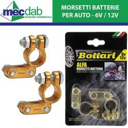 Coppia Morsetti Batteria per Auto 6V / 12V Bottari Alfa
