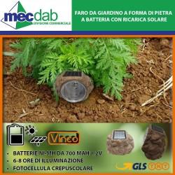 Faro da giardino a Forma di Pietra Batterie da 700 mAh 1,2V con Ricarica Solare Vinco-204063