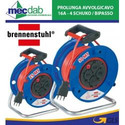 Prolunga Elettrica Da Esterno 25/50 Metri 16A 4 Schuko + Bipasso Brennenstuhl