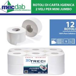 Carta Igienica Per Dispenser Mini Jumbo 2 Veli Pura Cellulosa Confezione 12 Rotoli Ø 20 Cm x 9,5 Cm
