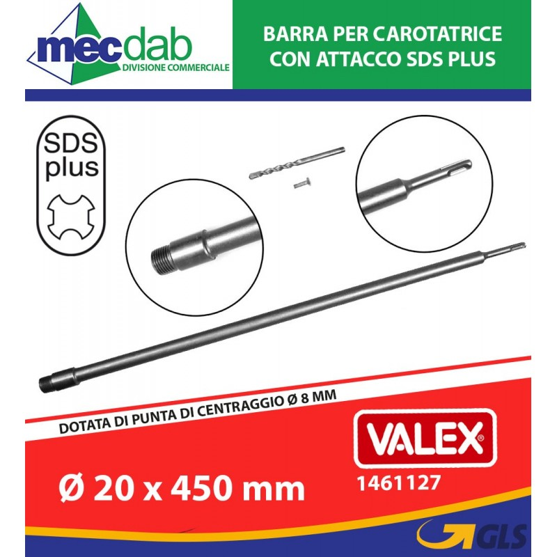 Barra Per Carotatrice Attacco SDS Plus Ø 20 x 450 mm Valex 1461127