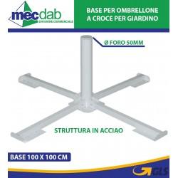 Base Ombrellone in Acciaio Bianco 100 x 100 CM Ø Foro 50 mm