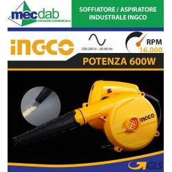Aspiratore Soffiatore Elettrico 220V 600W 16.000 RPM Ingco AB6008