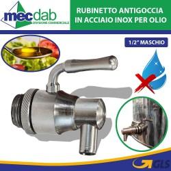 Rubinetto Antigoccia in Acciaio Inox per Olio 1/2'Maschio con Leva