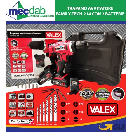Trapano Avvitatore Family-Tech 214 con 2 Batterie al Litio da 14,4V Valex