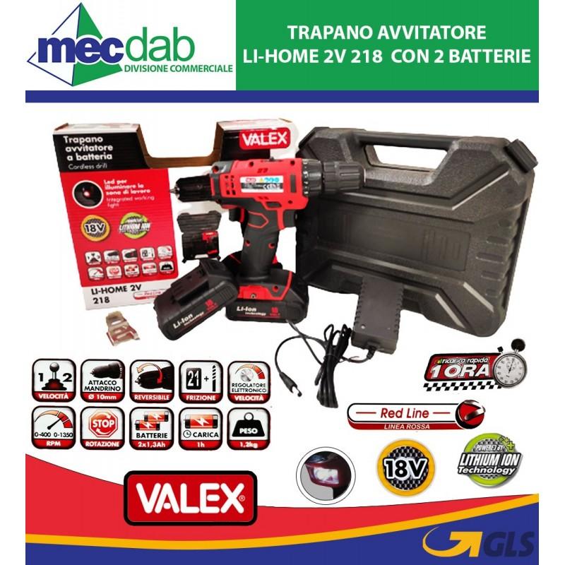 Trapano Avvitatore Family-Tech 214 con 2 Batterie al Litio da 14,4V Valex