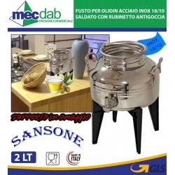 Fusto per Olio 2lt Sansone in Acciaio Inox 18/10 Saldato con Rubinetto Antigoccia Gioiello Europa