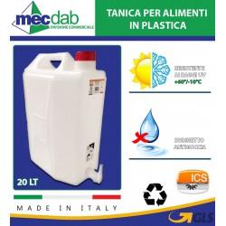 Tanica per Alimenti in Plastica 20 LT con Rubinetto Antigoccia Made in Italy I.C.S.