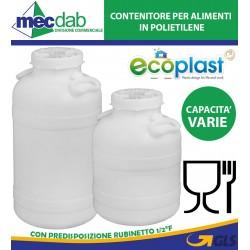 """Fusto Contenitore Per Alimenti 30/50 LT In Polietilene Con Predisposizione Rubinetto 1/2"""" F"""