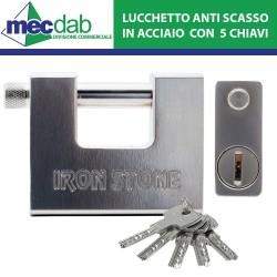 Lucchetto monoblocco antiscasso per serranda in Acciaio speciale L 84 mm