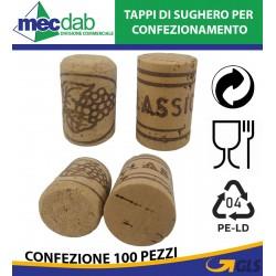 Tappi in Sughero Per Confezionamento Vini 100 Pezzi Vari Numeri