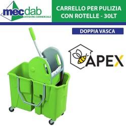 Carrello con Secchio Doppia Vasca 30L Professionale con Rotelle e Strizzatore