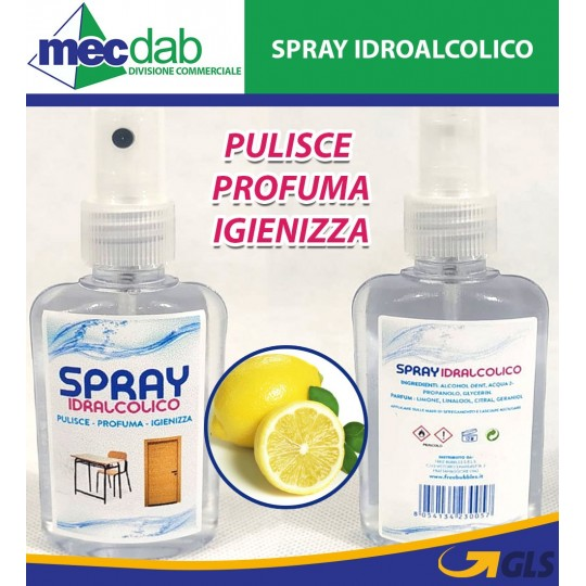 Spray Idroalcolico 4 in 1 Gel Igienizzante Profumato a Limone 80 ml