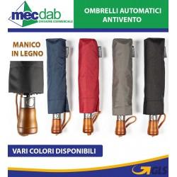 Ombrello Antivento Unisex Con Chiusura Automatica e Manico In Legno
