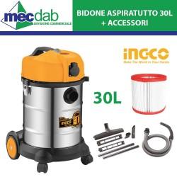 Bidone Aspirapolvere/Aspiracenere 1200W 30L In Acciaio Inox + Accessori